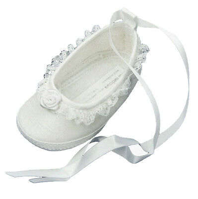 Baby Girls White Silk Dupion Christening Occasion Pram Shoes sIZE 1 2 3-6M 6-12M