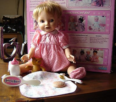 """Playmates interactive Amazing babies baby doll. 14"""" tall. All accessories incl."""