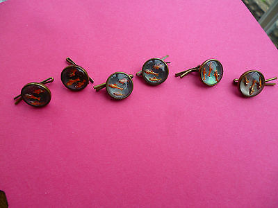 6 antique/vintage glass domed buttons depicting fish