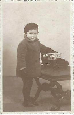 Young Edwardian Boy With His Toy Truck - Vintage Photo Postcard