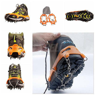1Pair10 Teeth Anti Slip Snow Ice Climbing Spikes Grips Crampon Cleat Shoes Cover