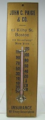 Old John C Paige & Co Boston New York Insurance Adv Wooden Thermometer Sign