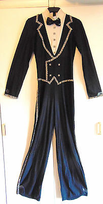 Vintage theatrical cat suit tap dance costume all in one trouser suit diamante S