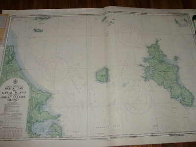 Vintage Nautical Map Bream Tail to Kawau Island Includes Great Barrier Island