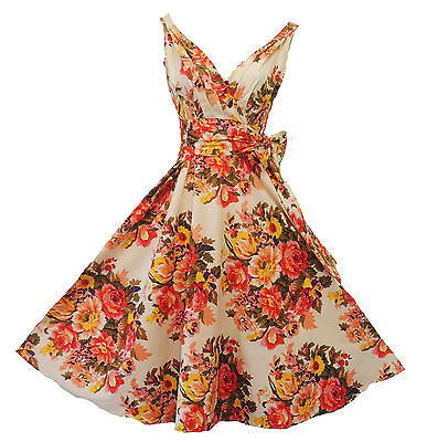 "New Vintage style Romantic Floral ""English Rose""  Bridesmaid Prom Dress UK 12"