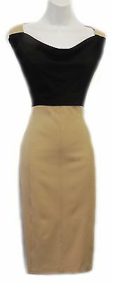 Retro 1950's  Black Beige Cowl Neck Smart Pencil Wiggle Office Work Dress 14