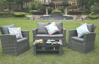 Conservatory 4-Piece Set Rattan Sofa Garden Furniture Patio Set Table Chairs