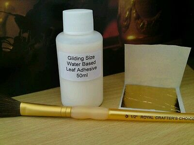 Professional Metal Leaf Acrylic Adhesive. 100ml Size Glue. Gold+Silver Gilding.