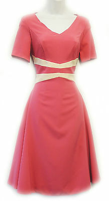 New Vintage Nostalgia 1940's style Pink Cream  WW2 Wartime Tea Dress UK 10