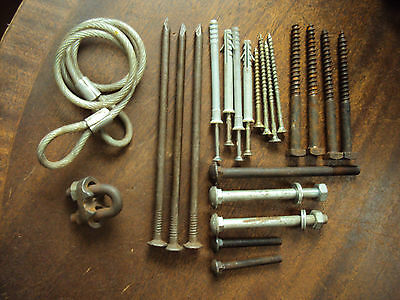 Job lot of coach bolts, long screws, wire clamp, nails etc.