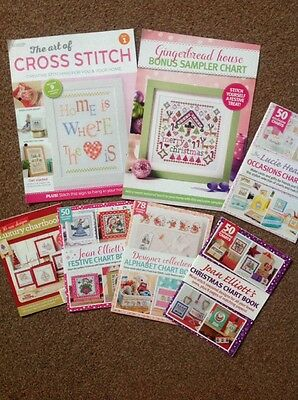 Cross stitch charts and samplers, mixed bundle