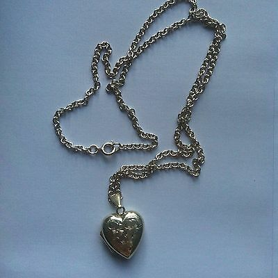 Vintage Sterling 925 Silver Heart-Shaped Locket with Silver Chain