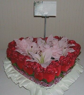 Artificial Silk Flower Heart Floral Wreath Funeral Tribute Grave