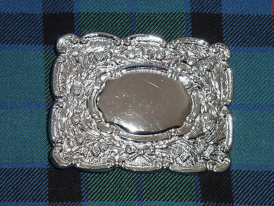 Scottish Thistle Embossed Kilt Belt Buckle, Pipers, Highland, Celtic, Caileigh