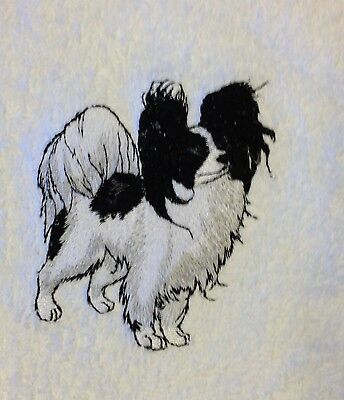 Papillon, Towel, Embroidered, Custom, Personalized, Dog, Black and White