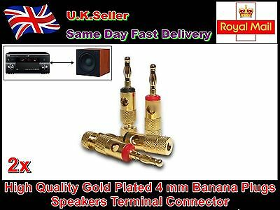 2 x Palic High Quality Gold Plated 4 mm Banana Plugs Speakers Terminal Connector