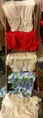 Lot Of 5 Vintage Full Slips Gown Chiffon Sheer Lace Lingerie Bust S M Resale
