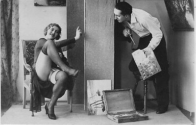 French NUDE real photo postcard circa 1920 BIEDERER the painter