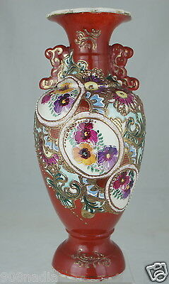 Antique Old Japanese Satsuma Vase,moriage,gold,hand Painted Pansy Flowers