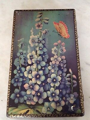 Vintage Tin - CWS Biscuits Free Sample - Iridescent Butterfly & Delphiniums Good