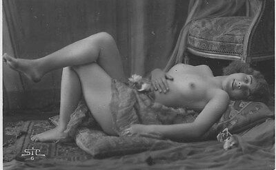 French NUDE real photo postcard circa 1920 STIC6