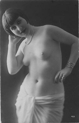 French NUDE real photo postcard circa 1920 BIEDERER 48 Flesh coloured