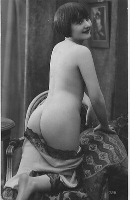 French NUDE real photo postcard circa 1920 BIEDERER 728 Flesh coloured