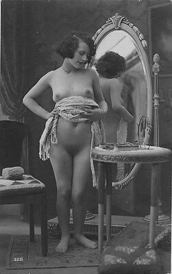 French NUDE real photo postcard circa 1920 BIEDERER 328 Flesh coloured