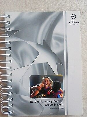 2002/2003 Champions League Results Summary Booklet - Group Stage 1