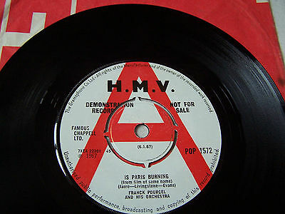 Franck Pourcel - Is Paris Burning / This Is My Song  ** Rare Demo Hmv Label **