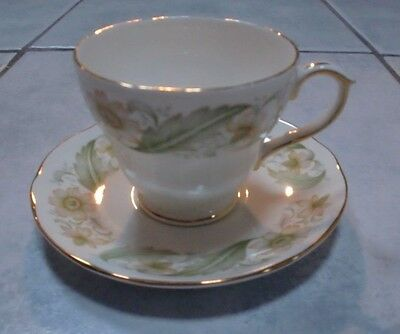 Duchess China Cup & Saucer PERFECT White with Greensleeves Pattern & Gold