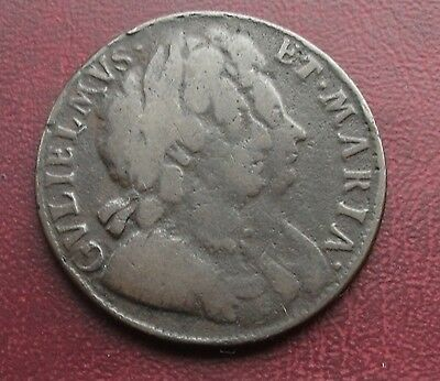 William And Mary 1694 Half-Penny- 'maria' Error