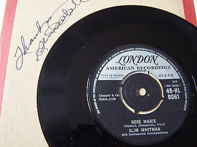Slim Whitman - Rose Marie / We Stood At The Altar ** London Label Autograph **