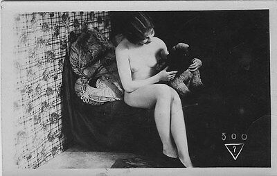 French NUDE real photo postcard circa 1920 BIEDERER 500