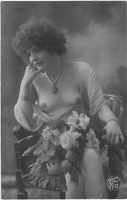 French NUDE real photo postcard circa 1920 STL32
