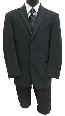 "Black Perry Ellis ""Groove"" Tuxedo Jacket Wedding Prom Mason *CHOOSE YOUR SIZE*"
