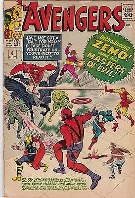Avengers #6 (1964 Marvel) 1st appearance Baron Zemo Silver Age NO RESERVE