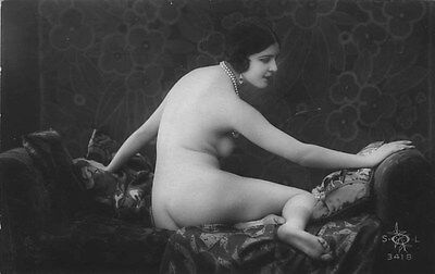 French NUDE real photo postcard circa 1920 SOL3418