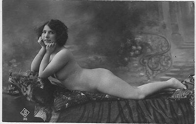 French NUDE real photo postcard circa 1920 BIEDERER JB36