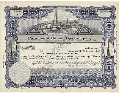 Paramount Oil And Gas Company (Nevada).......1919 Stock Certificate