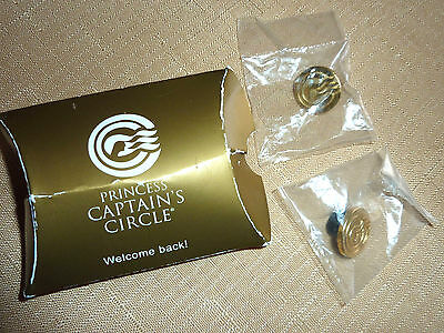 NIP 2 Princess Cruise Lines Gold Member Pins Captain's Circle Sealed Signed