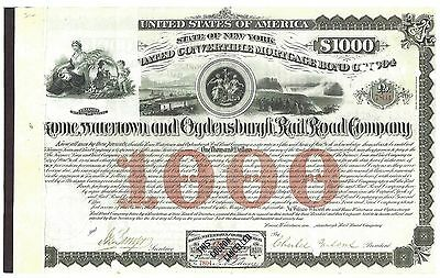 Rome,watertown And Ogdensburg Railroad Company.....1874 Mortgage Bond