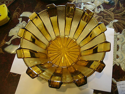 Large 1930's Bagley Art Deco Amber Glass BOWL
