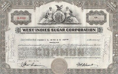 West Indies Sugar Corporation.....1945 Stock Certificate