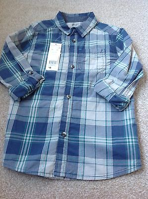 Boys blues/grey checked long sleeve shirt age 8-9 - new with label