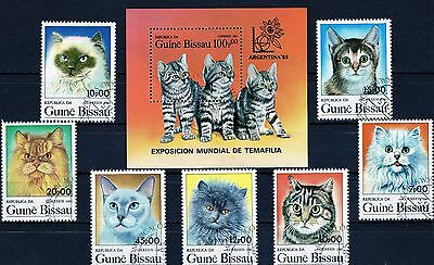 Cto - Guine Bissau 1985 - Cats - Domesticated Animals - Fauna - 7 Multiple+ S/s