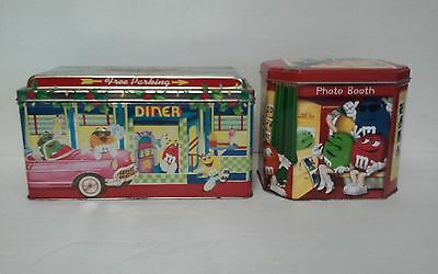 2 M&M Candy Tins Lot Metal Containers 1996 Diner, 2004 Photo Booth