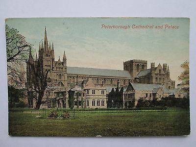 Vintage Postcard - Peterborough Cathedral & Palace , Cambridgeshire .
