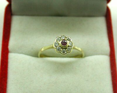 Vintage Lovely 18ct Gold Ruby And White Stone Cluster Ring