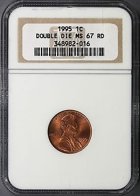 1995 1c DDO Lincoln Cent Doubled Die Obverse NGC MS67RD